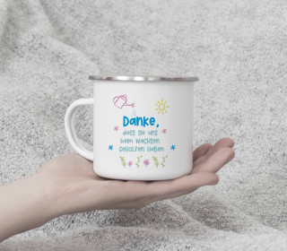 Emaille Becher - Danke - uns