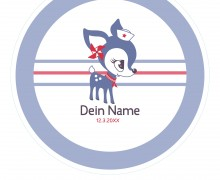 DIY-Nähset Babydecke - Rund - HafenKitz Stripes - Dein Name - blau - pers. Deckentop - NIKIKO - zum selber Nähen