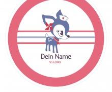 DIY-Nähset Babydecke - Rund - HafenKitz Stripes - Dein Name - rot - pers. Deckentop - NIKIKO - zum selber Nähen