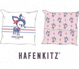 DIY-Nähset Kissen - HafenKitz Stripes - Geburtskissen mit Namen - blau - Hotelverschluss - personalisierte Kissenhusse - NIKIKO