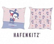 DIY-Nähset Kissen - HafenKitz Stripes - Geburtskissen mit Namen - blau - Streifen und Punkte - Hotelverschluss - personalisierte Kissenhusse - NIKIKO