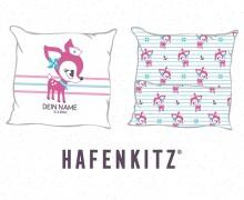 DIY-Nähset Kissen - HafenKitz Stripes - Geburtskissen mit Namen - pink - Hotelverschluss - personalisierte Kissenhusse - NIKIKO