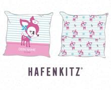 DIY-Nähset Kissen - HafenKitz Stripes - Geburtskissen mit Namen - pink - Streifen und Punkte - Hotelverschluss - personalisierte Kissenhusse - NIKIKO