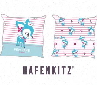 DIY-Nähset Kissen - HafenKitz Stripes - Geburtskissen mit Namen - türkis/rosa - Streifen und Punkte - Hotelverschluss - personalisierte Kissenhusse - NIKIKO