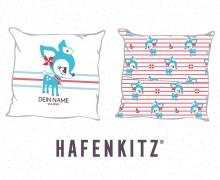 DIY-Nähset Kissen - HafenKitz Stripes - Geburtskissen mit Namen - türkis - Hotelverschluss - personalisierte Kissenhusse - NIKIKO