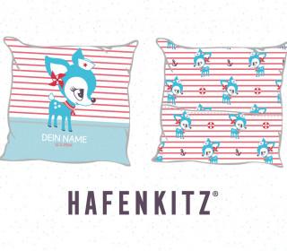 DIY-Nähset Kissen - HafenKitz Stripes - Geburtskissen mit Namen - türkis - Streifen und Punkte - Hotelverschluss - personalisierte Kissenhusse - NIKIKO