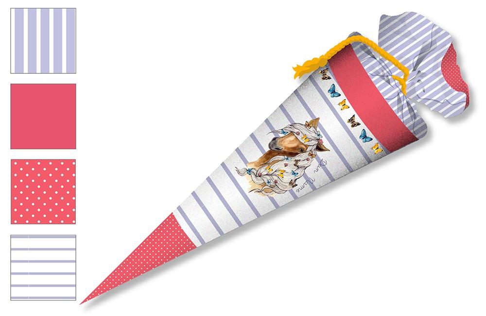 DIY-Nähset Schultüte - Pferd - Streifen - Flieder - zum selber Nähen