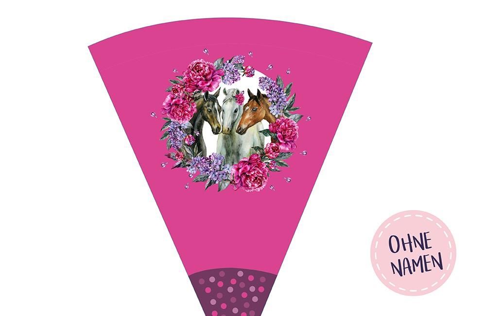 DIY-Nähset Schultüte - Dream Horses - Blumenkranz - pink - zum selber Nähen