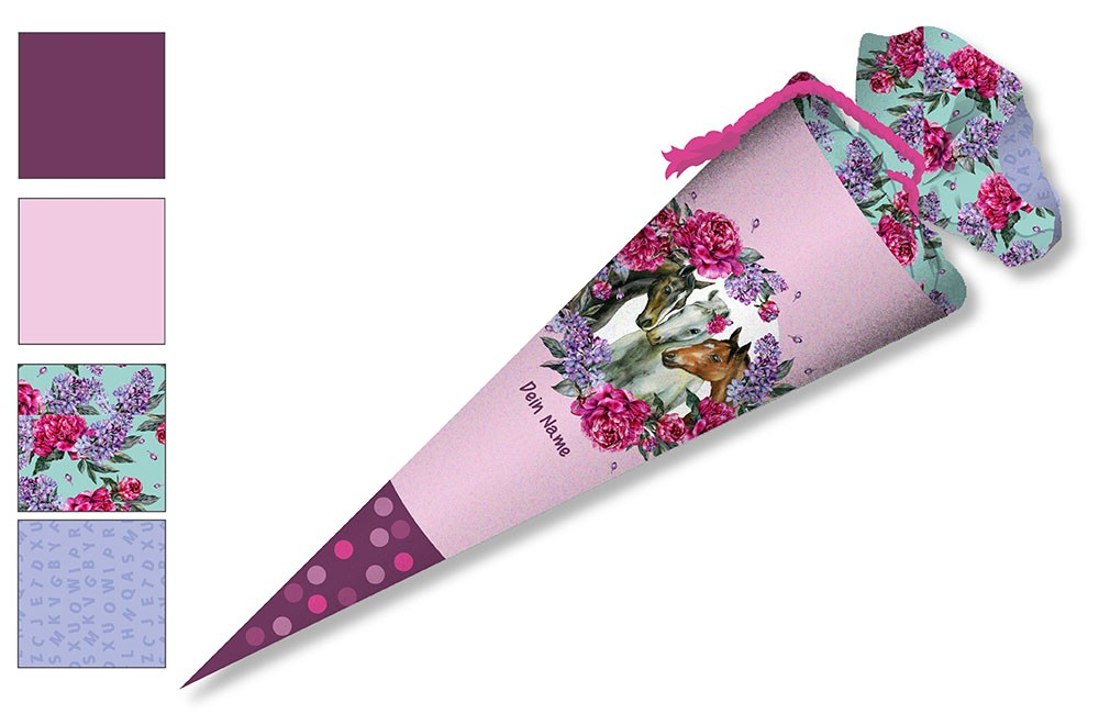 DIY-Nähset Schultüte - Dream Horses - Blumenkranz - rosa- zum selber Nähen