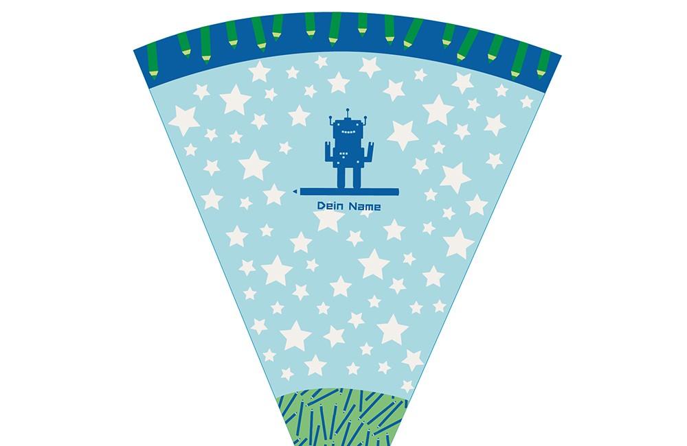 DIY-Nähset Schultüte - Maedchenwahn - Roboter Blau - zum selber Nähen