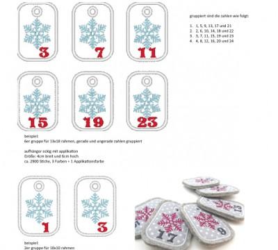 Stick Datei -   Schneeflocke Zahlen Anhänger Stickserie