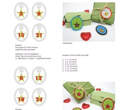 Stick Datei -   Stern Zahlen Anhänger Stickserie