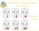 Stick Datei -   Hirschkopf Zahlen Anhänger Stickserie