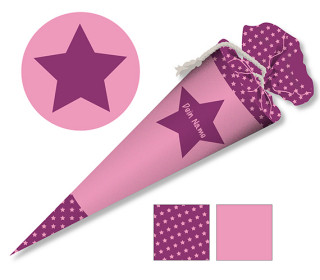 DIY-Nähset Schultüte - Stern Pink - zum selber Nähen