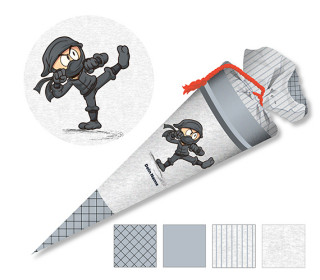 DIY-Nähset Schultüte - Ninja - Grau - zum selber Nähen