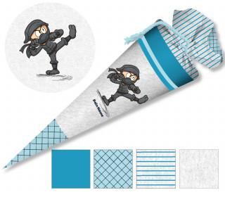 DIY-Nähset Schultüte - Ninja - Blau - zum selber Nähen