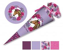 DIY-Nähset Schultüte - Dream Horses -Blumenkranz - flieder - zum selber Nähen