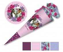 DIY-Nähset Schultüte – Dream Horses – Blumenkranz – rosa- zum selber Nähen