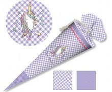 DIY-Nähset Schultüte - Einhorn Lila Karo - zum selber Nähen