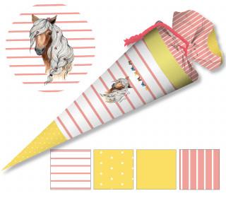 DIY-Nähset Schultüte - Pferd - Streifen - Apricot - zum selber Nähen