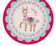 DIY-Nähset Babydecke - Rund - Lama 2 - Boy - Top Babydecke - pers. Krabbeldecken Top - zum selber Nähen