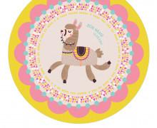 DIY-Nähset Babydecke - Rund - Lama 1 - Girl - Top Babydecke - pers. Krabbeldecken Top - zum selber Nähen