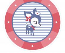 DIY-Nähset Babydecke - Rund - HafenKitz Stripes - Double - rot - pers. Deckentop - NIKIKO - zum selber Nähen