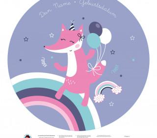 DIY-Nähset Babydecke - Rund - Fuchs - Top Babydecke - pers. Krabbeldecken Top - NIKIKO - zum selber Nähen