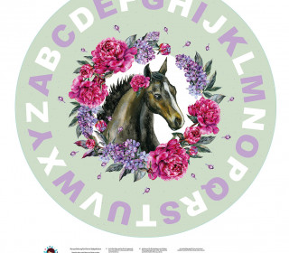 DIY-Nähset Babydecke - Rund - Dream Horses - ABC - 02 - Top Babydecke - pers. Krabbeldecken Top - zum selber Nähen