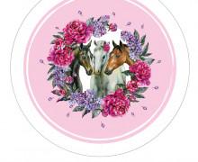 DIY-Nähset Babydecke - Rund - Dream Horses - 04 - Top Babydecke - pers. Krabbeldecken Top - zum selber Nähen