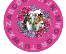 DIY-Nähset Babydecke - Rund - Dream Horses - ABC - 01 - Top Babydecke - pers. Krabbeldecken Top - zum selber Nähen