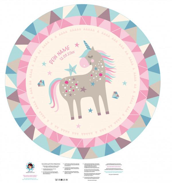 DIY-Nähset Babydecke - Rund - Einhorn - 01 - Top Babydecke - pers. Krabbeldecken Top - zum selber Nähen