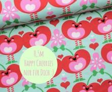 Dein Geschenk - 0,5m Baumwoll Jersey - Happy Cherries - Sari Ahokainen