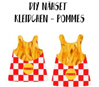 DIY-Nähset Kleidchen - Pommes - Jersey - Fasching - Karneval - Kostüm - zum selber Nähen