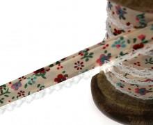 1m Schrägband - Häkelborte - Blumen - Beige/Rot