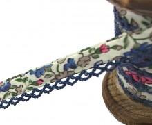 1m Schrägband - Häkelborte - Blumen - Mint/Blau