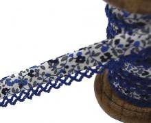 1m Schrägband - Häkelborte - Blumen - Weiß/Blau