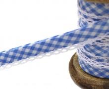 1m Schrägband - Häkelborte - Vichy - Blau