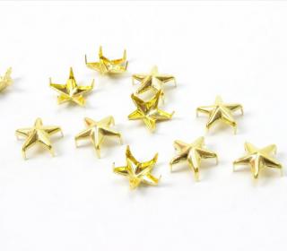 10 Nieten - Sterne - Gold - Klein - 10mm