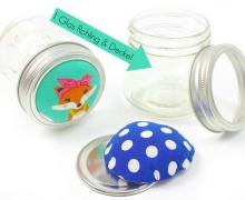 Glas für Nadelkissen - DIY - geteilter Deckel