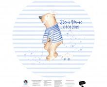 DIY-Nähset Babydecke - Rund - Top Babydecke - personalisiertes Krabbeldecken Top - Küstenbär - zum selber Nähen