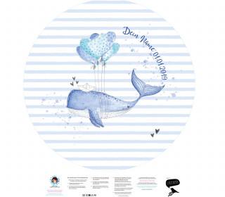 DIY-Nähset Babydecke - Rund - Top Babydecke - personalisiertes Krabbeldecken Top - Herzenswal - zum selber Nähen