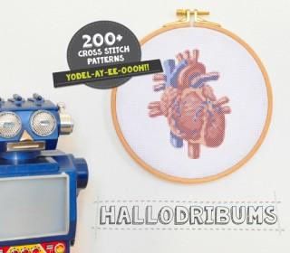 Stickdatei - Menschliches Herz - Kreuzstichmuster - Handstick Datei