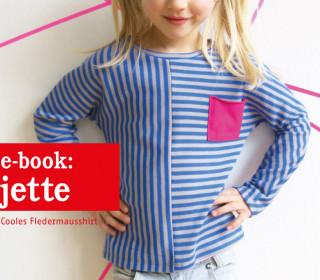 Ebook - Shirt - JETTE  - Fledermausshirt mit Musterwechsel - Doppelgrößen 86-152
