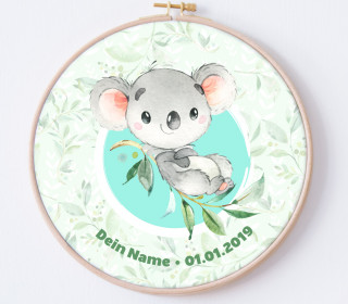 DIY Stickrahmen - Lovely Little Koala - personalisiertes Stickrahmen Bild - Koalabär - zum Selbermachen