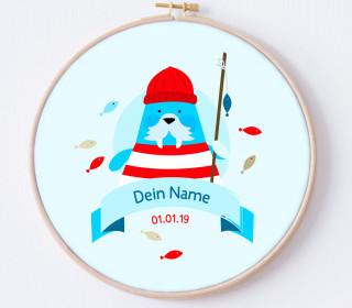 DIY Stickrahmen - Walross Ahoi - personalisiertes Stickrahmen Bild - Anna Anjos - zum Selbermachen