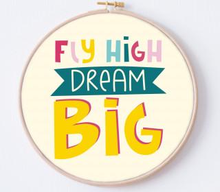 DIY Stickrahmen - Fly High Dream Big - Stickrahmen Bild - Maedchenwahn - zum Selbermachen
