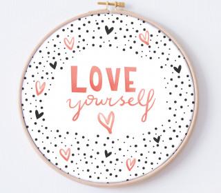 DIY Stickrahmen - Love Yourself - Stickrahmen Bild - Maedchenwahn - zum Selbermachen