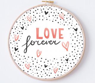 DIY Stickrahmen - Love Forever - Stickrahmen Bild - Maedchenwahn - zum Selbermachen