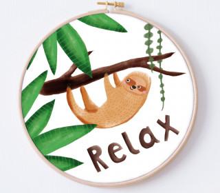 DIY Stickrahmen - Faultier - Relax - Stickrahmen Bild - Maedchenwahn - zum Selbermachen